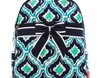 Personalized Ikat Print Quilted Backpack with Bow * Custom Embroidered Book Bag with Monogram or Name