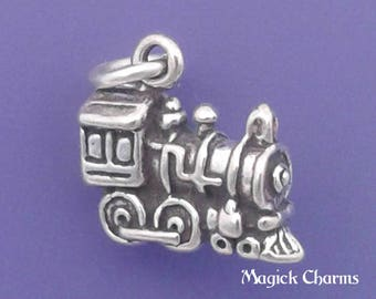 TRAIN Charm .925 Sterling Silver Narrow Gauge Engine Small Pendant - lp2225