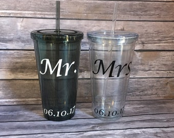 Mr. and Mrs. Cup, Mr and Mrs Tumbler, Bride and Groom, Wedding Cups Set