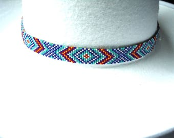 Beaded hat band, seed bead hatband, accessories, accessories, Western hat band, Cowboy hat band, Cowgirl hat band, Native American inspired