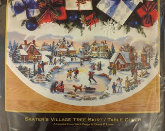 Dimensions Gold Collection Skaters Village TREE SKIRT Counted Cross Stitch Kit Christmas