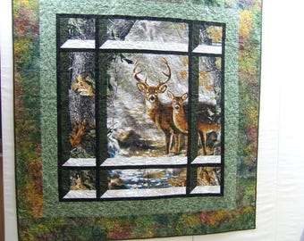 Buck and Doe Lap Quilt, Outdoor Themed, Lap Quilt, Gift for Hunters, Deer, Artist Dona Geisingwr for RealTree, Wildlife, Made CO USA