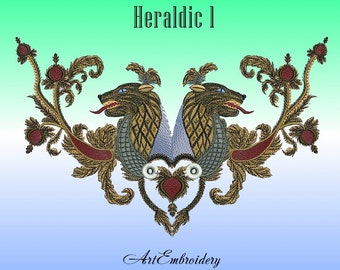 Heraldic Lions  Design 1 Machine Embroidery Design 1 ( assembled and split on different hoop size)