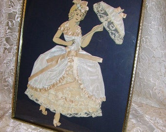Vintage Ribbon Art Paper Doll /Southern Belle with Parasol