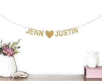 Custom Wedding Banner, Engagement Banner, Engagement Photo Props, Photo Booth Banner, Engagement Party Decor, Custom Glitter Banner, Name