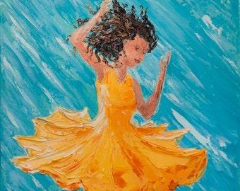 """Original Painting Woman Dancing """"Happy (No. 5)""""  14"""" x 11"""" (36cm x 28cm)   Palette Knife Oil on Canvas"""