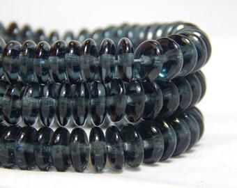 6mm Blue Rondelles, Blue Donut Beads, Blue Disk Beads, Blue Heishi Beads, Blue Spacer Beads, Glass Spacer Beads, Blue Spacers, T-83B