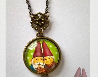 "Cabochon pendant necklace ""a love story - garden dwarf"" green"
