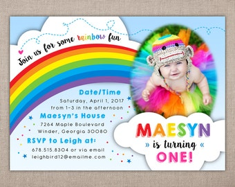 RAINBOW BIRTHDAY PARTY - Printable Invitation, Rainbow First Birthday Invitation, Rainbow Party Invitation, Colorful Birthday Invitation