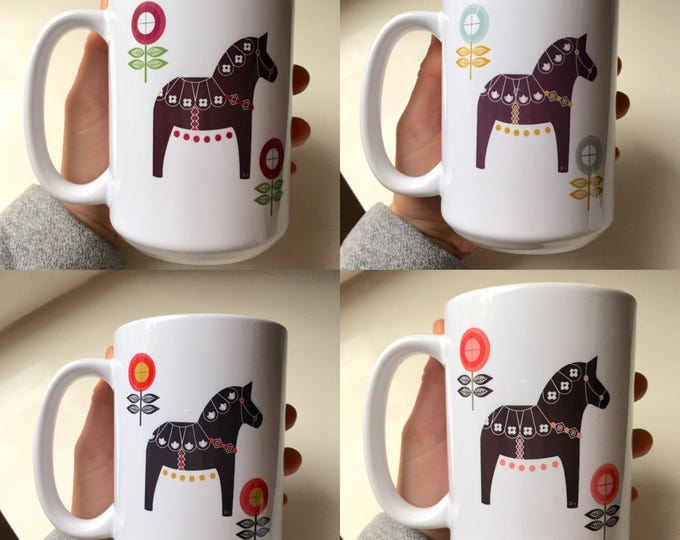 Floral Dala Horse, Coffee Mug, Coffee Cup, Tea Mug, Dala Horse, Flowers, Swedish Dala Horse, Horse, Scandinavian, Spring (SET of 4)