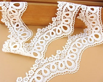 7cm White lace trim for DIY sewing,white circle lace trimming,flower hollow up trim