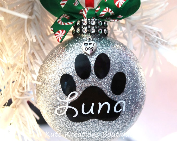 Paw Print Ornament/Personalized Ornaments/Pet Name/Paw Print Christmas Ornament/I Love My Dog/Cat
