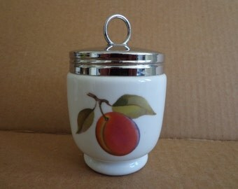 Royal Worcester Egg Coddler with Lid, King Size or Double, Evesham Gold Peach and Currants Pattern