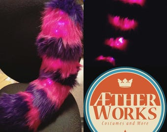 Purple and hot pink cat Stripped Tail-- led tail, Light up tail, Large Tail, Red panda Tail, Furry, Cheshire cat tail ,Fursuit, Fursuit Tail