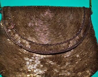 Vintage Copper Beaded Glam Over the Shoulder Envelope Evening Bag