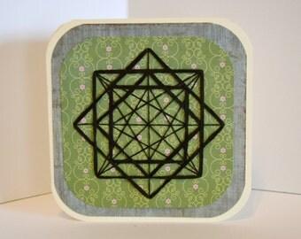Green Geometric string art, handmade card