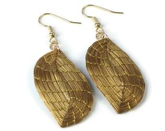 Leaf Earrings Handwoven, Fall Earrings, Leaf Earrings Gold, Leaves Golden Earrings, Leaves Earrings, Nickel Free Gold Filled French Hook