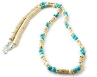 Single Strand Necklace, Turquoise Necklace, Wooden beaded Necklace, Neutral Beaded Necklace, Long Necklace boho, Beaded necklace long,
