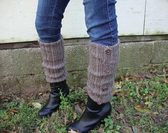 Mocha Hand Knit Acrylic Leg Warmers - Women's Leg Warmers - Vegan Leg Warmers - Brown Leg Warmers - Button Leg Warmers - Brown Acrylic Leg