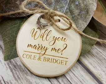 Will You Marry Me - Engraved Wood Slice - Wedding Proposal - Marriage Proposal - Rustic Ring Pillow