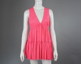 1970s John Kloss for Circa Slip babydoll mini Dress M medium HOT pink boho festival