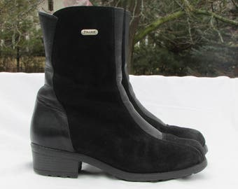 Vintage PAJAR Size 11 Black Suede Leather Boots, Shearling Lined Winter Boots,  Snow Boots, Waterproof, Insolated, Treads, Made in Canada