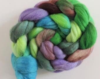 merino silk,Dream Dancer, top, handpainted fiber for spinning, .4,2oz