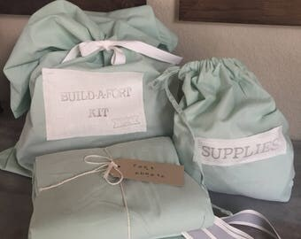 Mint with GREY ties - Build-A-Fort Kit