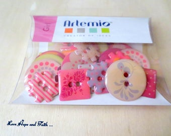 "SPECIAL SCRAPBOOKING! LOT 30 resin buttons ""mix pink"" (cod.new)"
