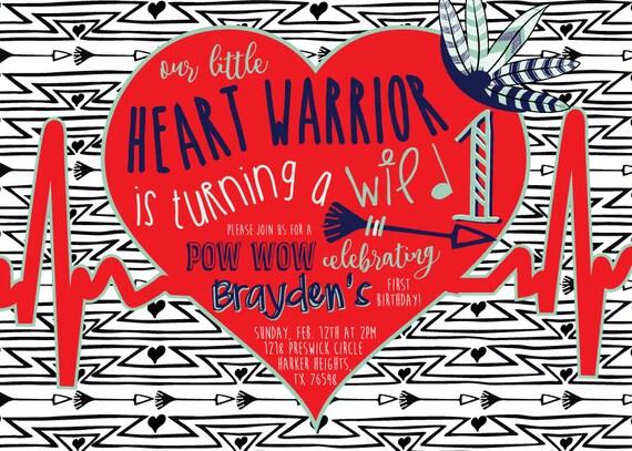 Heart Warrior Wild One First Birthday Invitation (DIGITAL COPY)