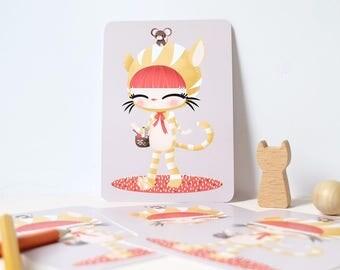 Card - Les Adorables Costumés  :  the cat