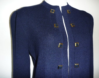 Vintage ST JOHN SWEATER S Small Cardigan Navy Blue Santana Knit Military Brass Buttons Designer Marie Gray