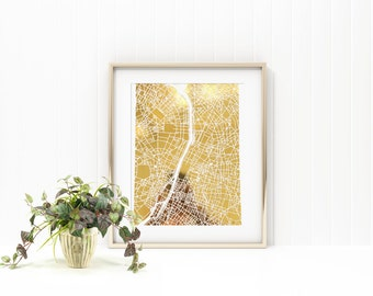Paris gold foil print/ Paris map/ city art/ city print/ Paris print/ map print