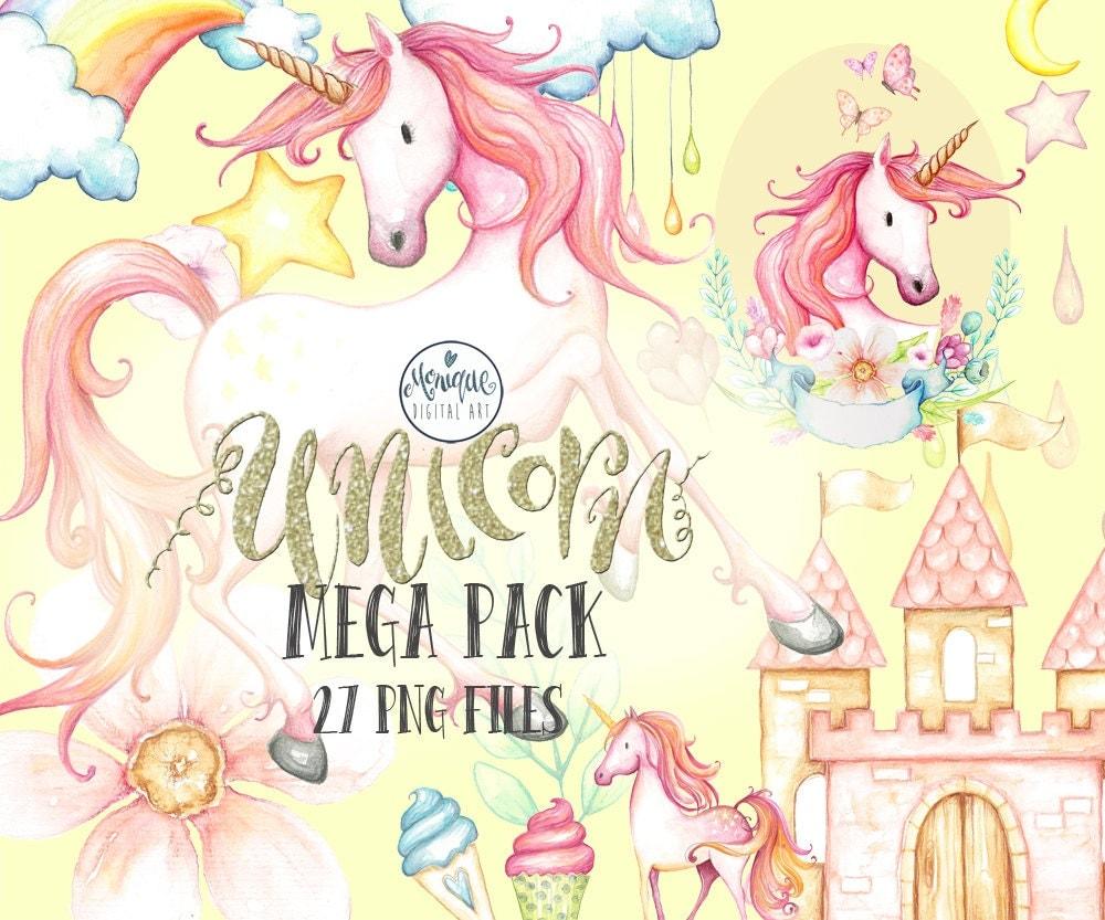 Clipart Unicorn watercolor unicorn invitation party