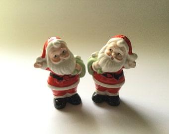 Vintage Christmas Santa Salt and Pepper Shaker Set/Japan/Painted Ceramic/1950s