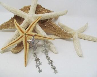 """Silver Star Dangle Hook Earrings - 3"""" long"""