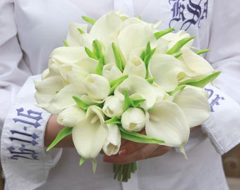 Bride, bridesmaid wedding bouquet - real touch calla lilies and tulips, Grooms  buttonhol