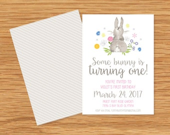 Some Bunny is One Invitation-Bunny Invitation- Easter Invitation- Easter Brunch Invitation- Easter Invitation