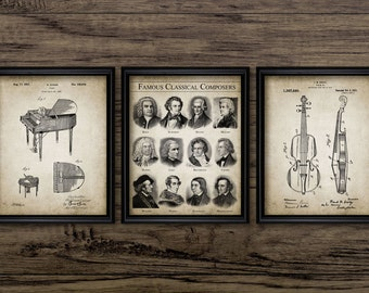 Orchestral Music Set Of 3 Prints - Violin Design - Piano Design - Famous Composers Print - Set Of Three Prints #2244 - INSTANT DOWNLOAD