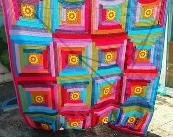 Sunny Log Cabin Blanket