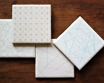 Laser Etched Reclaimed Tile Coaster Set - Four (4) Pack of laser engraved and hand dyed tile coasters