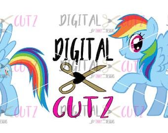 2 x Rainbow Dash - My Little Pony SVG, Digital Images, Downloads