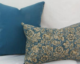 Blue pillow cover 13x20 pillow cover batik pillow blue tan pillow blue floral pillow denim blue pillow