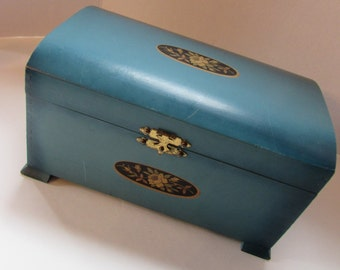 Cottage Style Painted Trinket Box Teal Jewelry Box Wood Storage Box Vintage Dresser Box Flower Decal McGraw Box Company Hidden Drawer Box