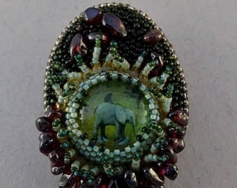 Brooch//Bead Embroidery//Hieronymus Bosch//The Garden Of Earthly Delights//Green//Garnet//Free Shipping