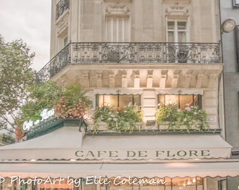 Paris Cafe, Paris Photography, Paris Print, Paris Decor, Cafe de Flore at dusk