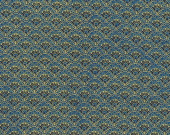 1/2 Yard Timeless Treasure Alexandria Tonal Scallop in Blue 4593