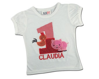 Girl's Farm Birthday Shirt with Chicken, Pig and Embroidered Name