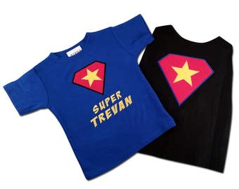 Boy Super Hero Shirt with Name and Matching Cape