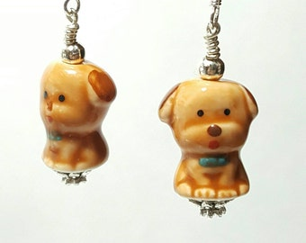 Brown dog earrings, animal jewelry, puppy earrings, dog jewelry